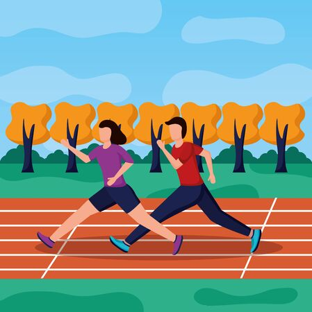 man and woman running illustration