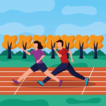 man and woman running illustration