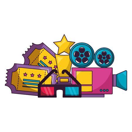 projector award tickets 3d glasses cinema movie  illustration
