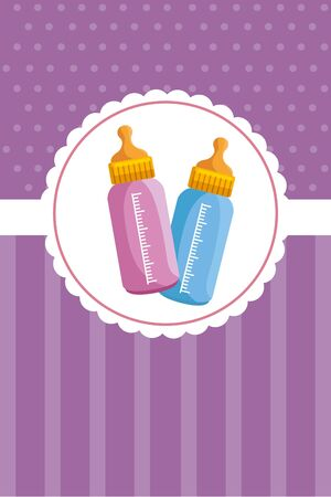 postcard with  baby milk bottles illustration design
