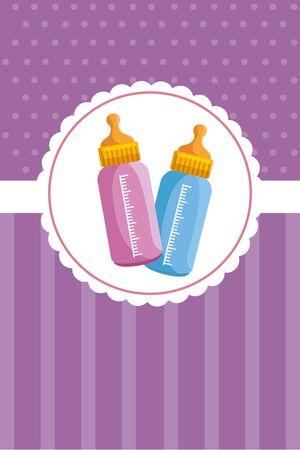 postcard with  baby milk bottles illustration design