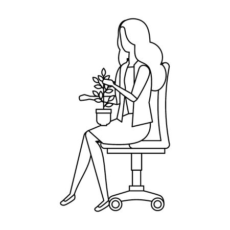 Woman with houseplant seated on chair  illustration design