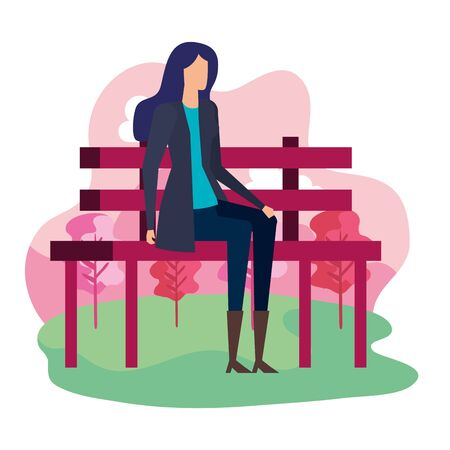 Woman seated in the park chair  illustration design