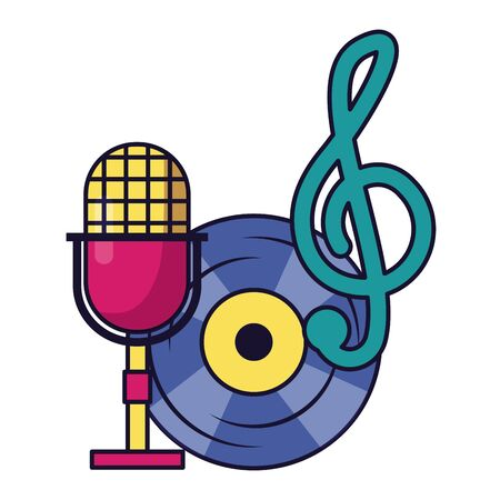 microphone vinyl note musical instrument and equipment festival music  illustration