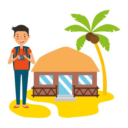 summer time holiday man with camera bungalow in the beach vector illustration Ilustração