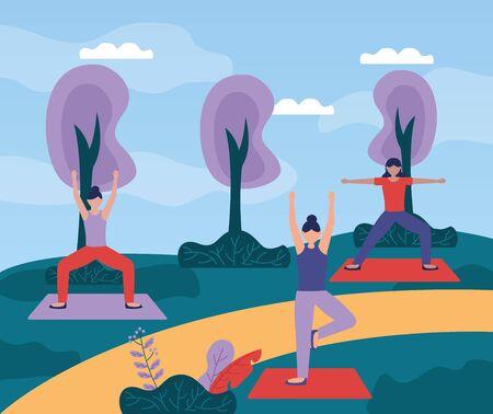 Women practicing yoga outdoors illustration