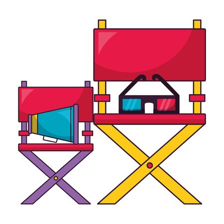 director chairs glasses speaker cinema movie  illustration