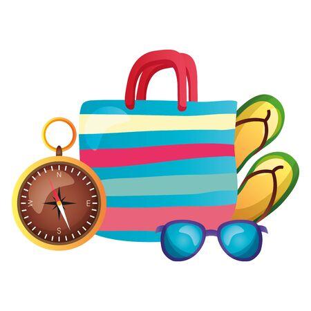 summertime holiday bag sunglasses flip flops compass  illustration Ilustracja