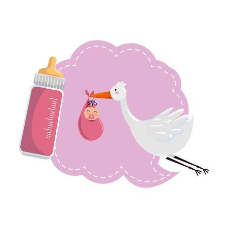 baby shower card with stork  illustration design Illustration