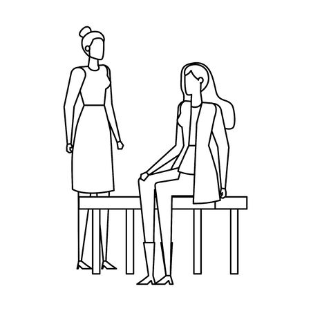 Businesswomen seated in the park chair illustration design