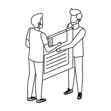 young men lifting floppy disk data storage illustration design Ilustração