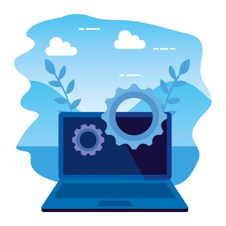 laptop computer device with gears illustration design