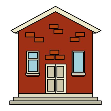 house building facade  illustration design