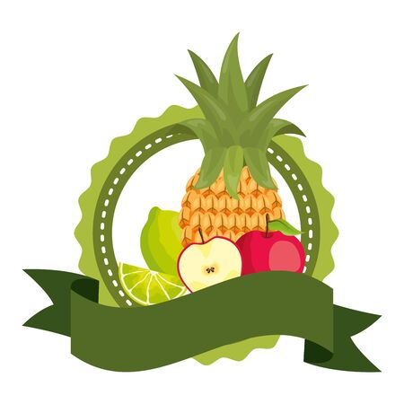 pineapple, apple and  lemon tropical fruits with badge ribbon  illustration
