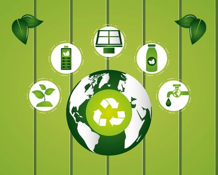 eco-friendly  recyclable stickers  illustration