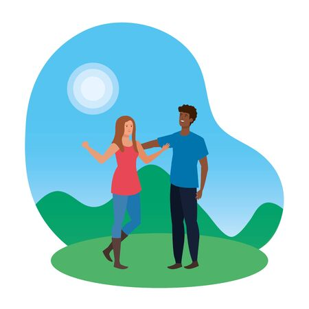 young  couple in the park illustration design