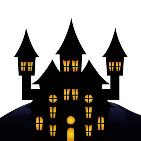 Halloween haunted castle illustration design