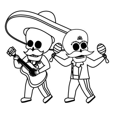 skeletons musician with guitar maracas viva mexico vector illustration