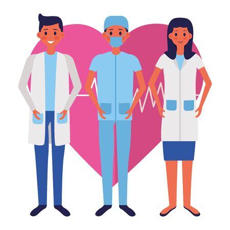 medical men and woman   illustration