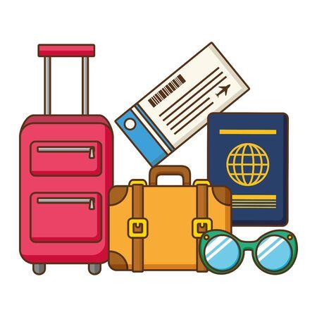vacations suitcase passport sunglasses ticket  illustration
