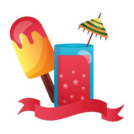 summertime holiday cocktail ice cream illustration Illustration