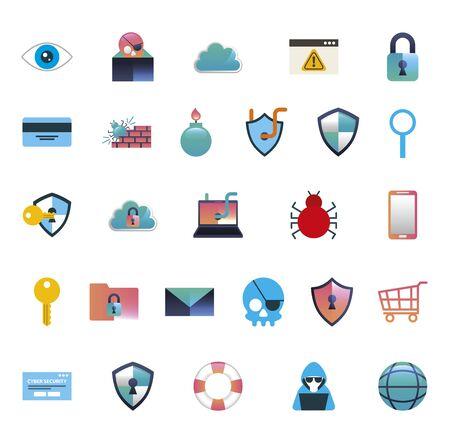 paquet de conception d'illustration colorée de cybersécurité