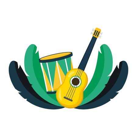 drum, guitar and feathers  illustration
