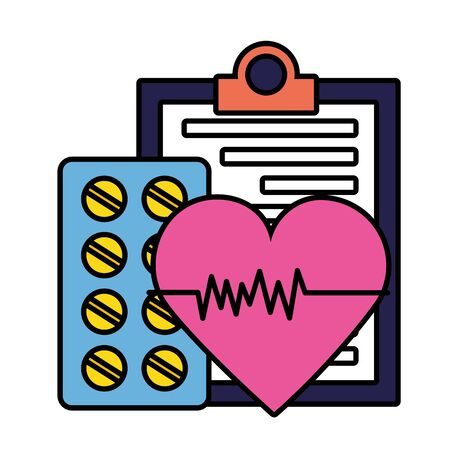 medical clipboard heartbeat  pills illustration