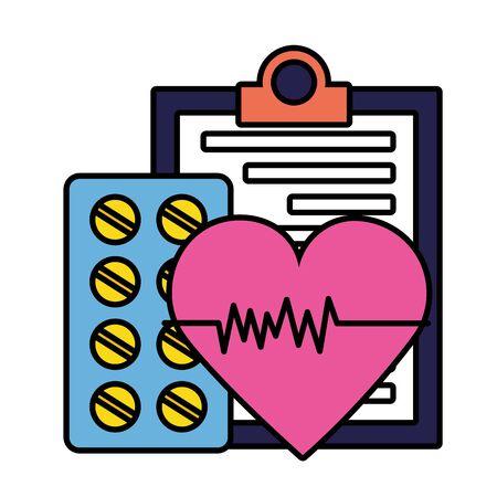 medical clipboard heartbeat  pills illustration