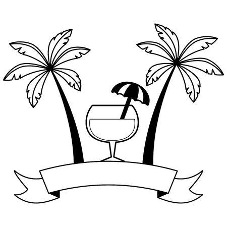beach cocktail palms ribbon brazil carnival  illustration