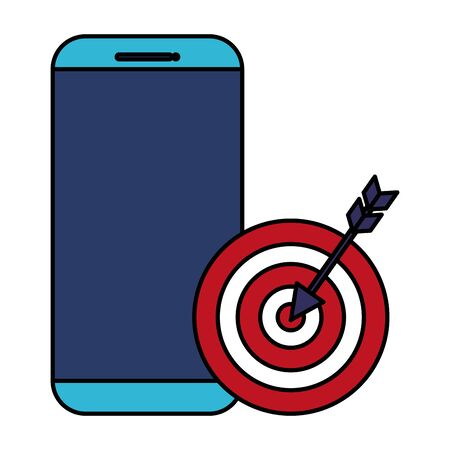 smartphone with target arrow success  illustration design