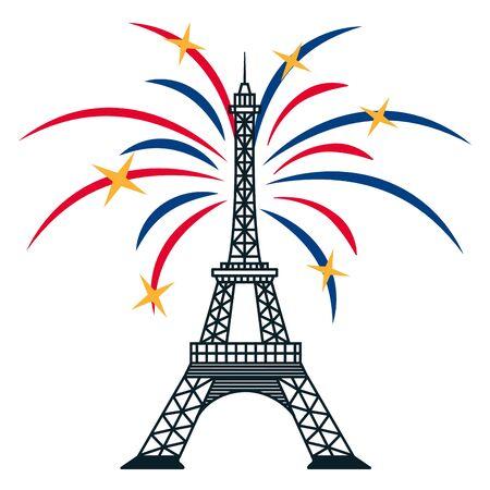 Eiffel tower fireworks celebration happy bastille day illustration