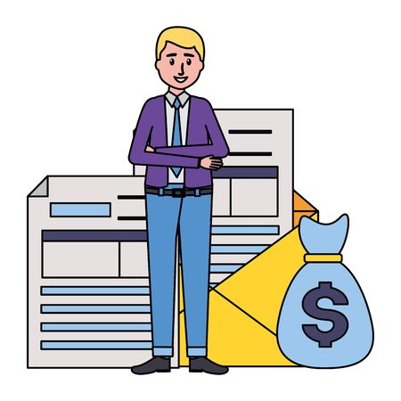 businessman with money bag, mail, tax payment  illustration
