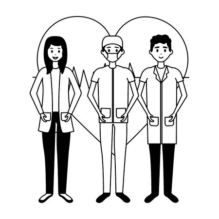 medical men and woman  illustration Illustration