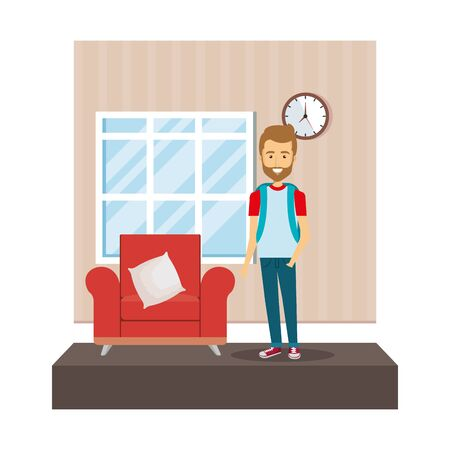 young man in the livingroom vector illustration design