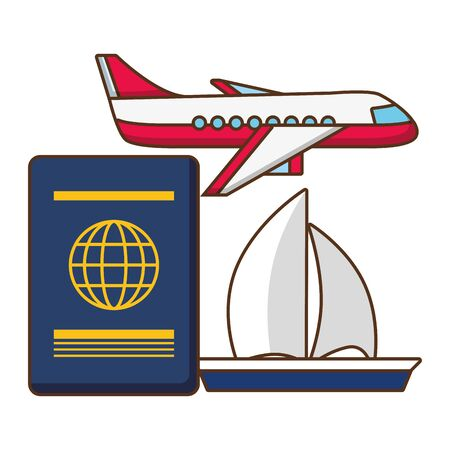 vacations airplane passport and sailing boat   illustration Stock Illustratie
