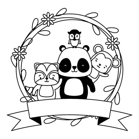cute monkey panda raccoon owl animals with flowers wreath  illustration Stock Illustratie