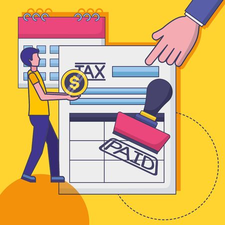 Man with tax design, Money finance accounting commerce market payment and government theme  illustration