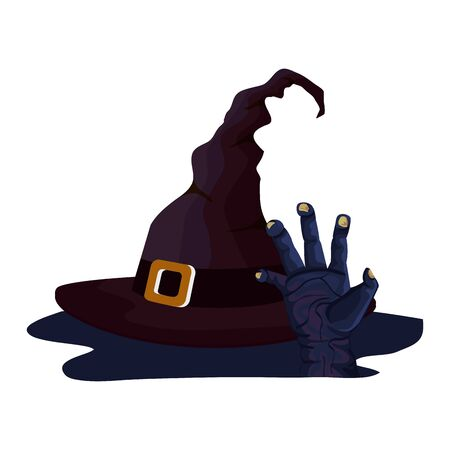 hat of witch for halloween and zombie hand  illustration design Çizim