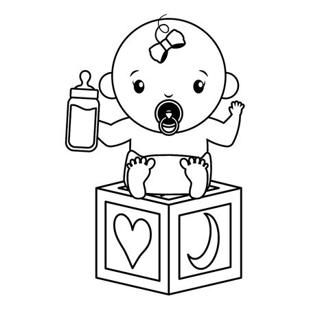 cute little baby  with block toy and milk bottle  illustration design