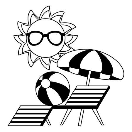 summertime holiday sun with sunglasses umbrella ball sunbed  illustration