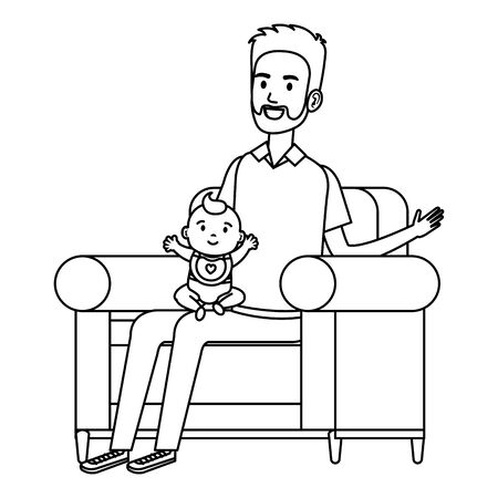 father and little baby on the sofa   illustration design