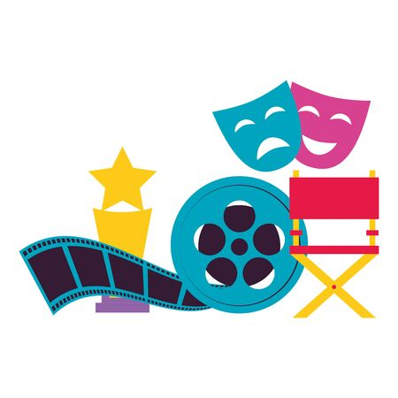 chair award theater masks reel film cinema design  illustration