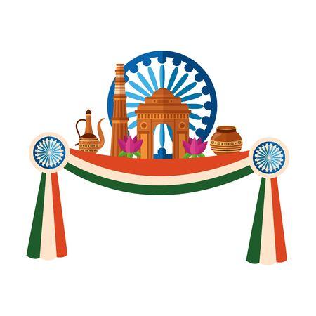 indian gateway with ashoka chakra and lotus flowers  illustration design
