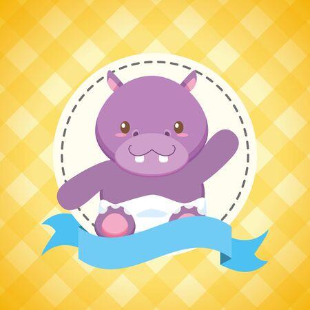 hippo  baby shower card  illustration