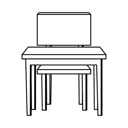 school desk with chair  illustration design Çizim