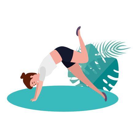 Woman practicing pilates illustration design