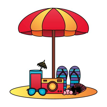 summertime holiday beach umbrella sandals camera sunglasses cocktail shell illustration