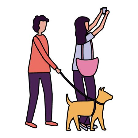 woman taking selfie and man with dog outdoors illustration Illustration