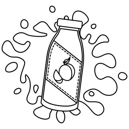 splash juice bottle peach tropical fruits design  illustration